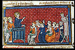Detail of a miniature of a bishop preaching.