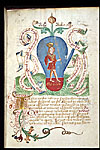 Miniature of the stage of the red elixir, a king or rosa ...