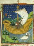 Knight in a boat