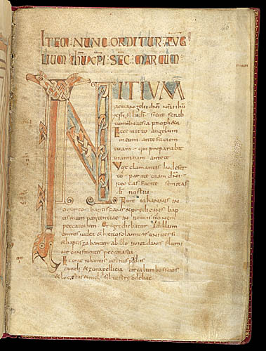 Decorated initial 'I'(nitium) with animal heads and ...