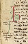 Decorated initial and ownership inscription