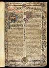 Border and historiated and illuminated initials