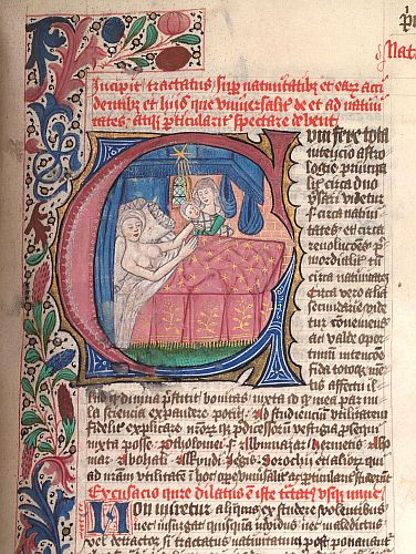 Detail of an historiated initial C with a birth scene