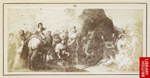 Murillo:  Moses striking the rock in Horeb. (From the engraving by Rafael Esteve, 1839.)