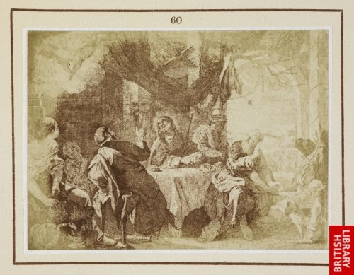 Mateo Cerezo:  Our Lord and the two disciples at Emmaus. (From an etching by J. del Castillo, 1778.)