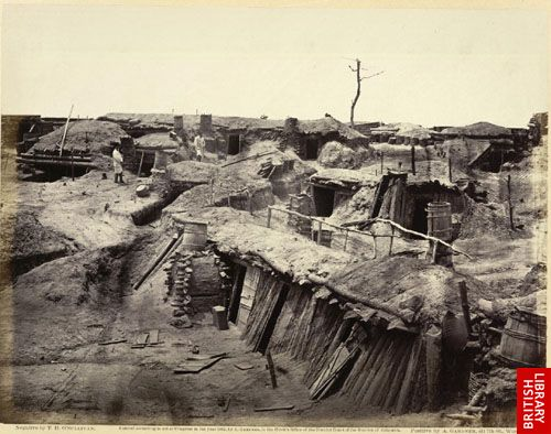 Quarters of men in Fort Sedgwick, generally known as Fort Hell.  (May, 1865.)