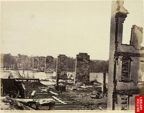 Ruins of Petersburg and Richmond railroad bridge, across the James.
