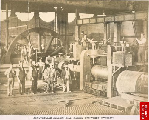 Armour-plate rolling mill, Mersey Ironworks, Liverpool.   [Frontispiece (folded)]