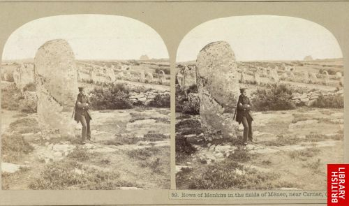 Rows of menhirs in the fields of M�nec, near Carnac.  (p. 205)