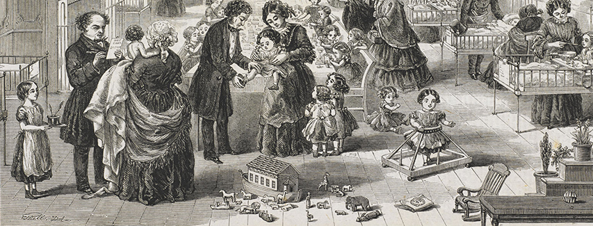 Engraved image from Penny Illustrated Weekly News, February 27th, 1864, entitled 'The Hospital for sick children, Great Ormond Street (Published 27 Feb 1864)