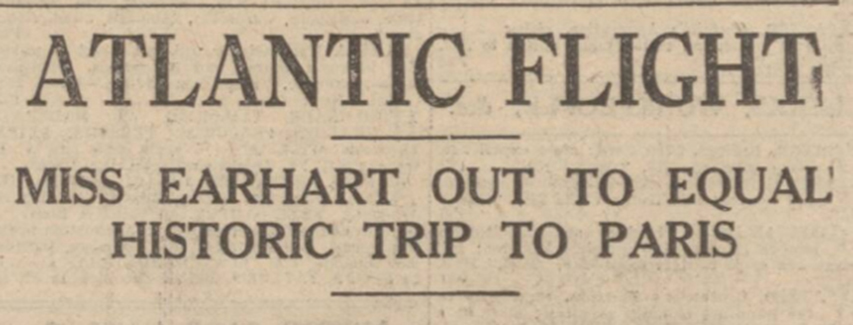 Newspaper headline of Amelia Earhart's solo flight