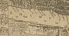 Detail of 17th century map of London