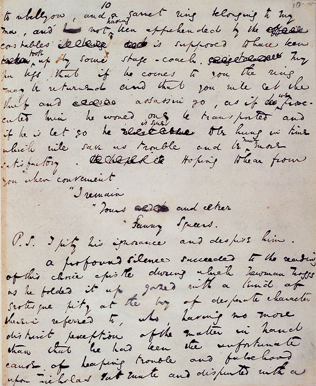 Page from manuscript of Nicholas Nickleby