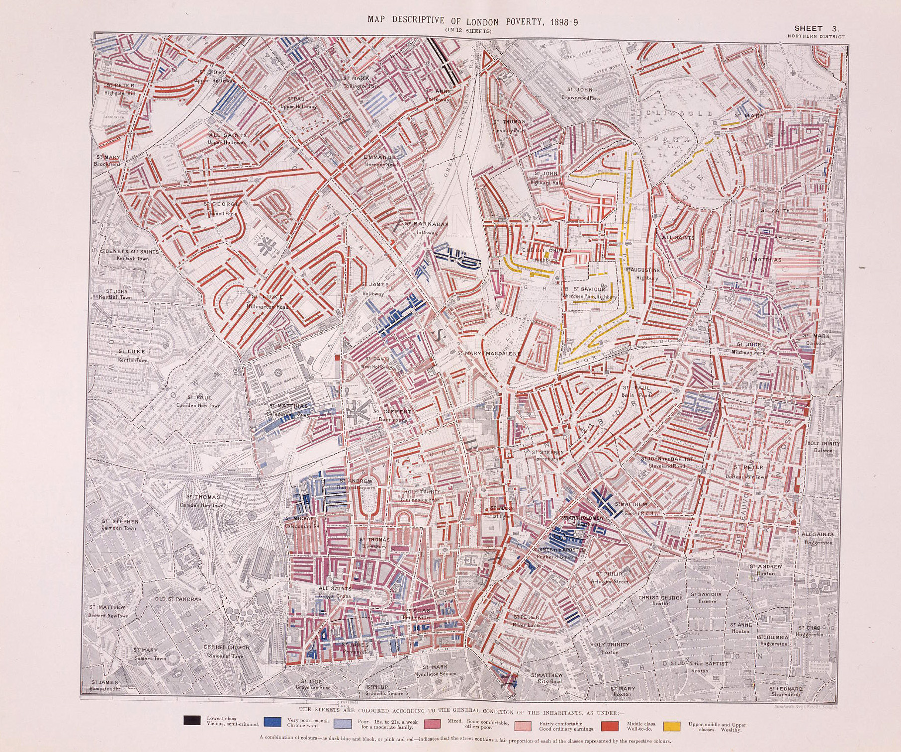 Booth's Poverty Map of London, 1892