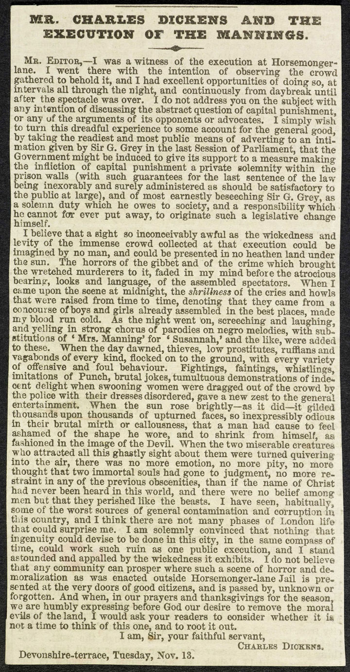 Dickens's letter on execution, 1849