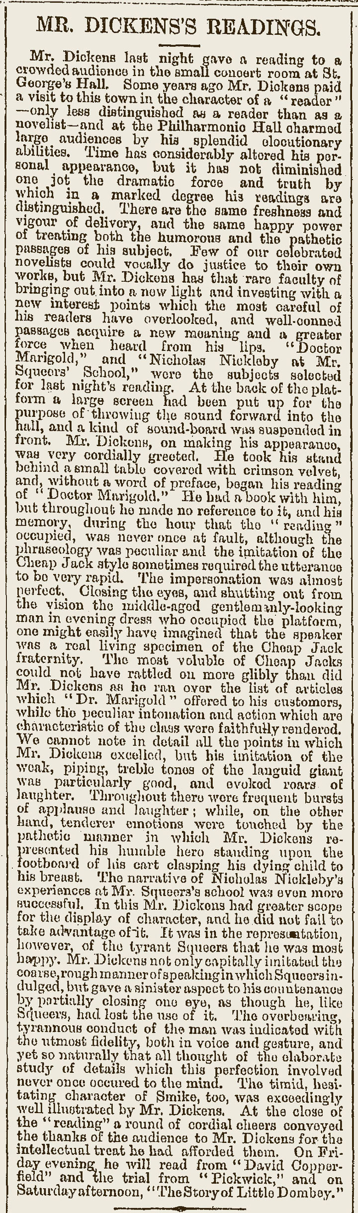 Newspaper Article: 'Mr Dickens's Readings', 1866
