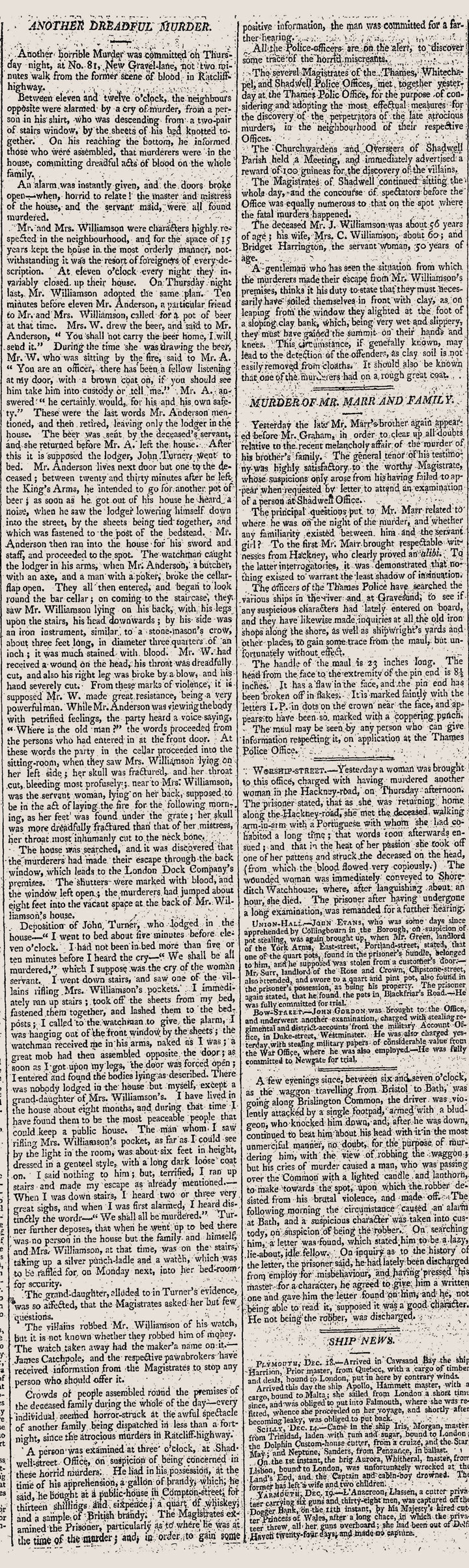 Newspaper Article: 'Another Dreadful Murder', 1811
