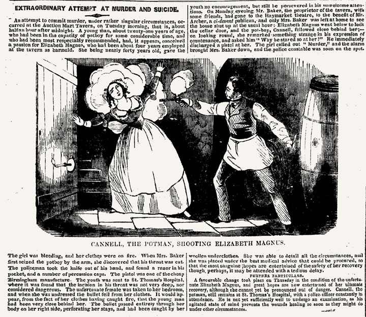 Newspaper Article: 'Extraordinary Attempt at Murder and Suicide', 1842