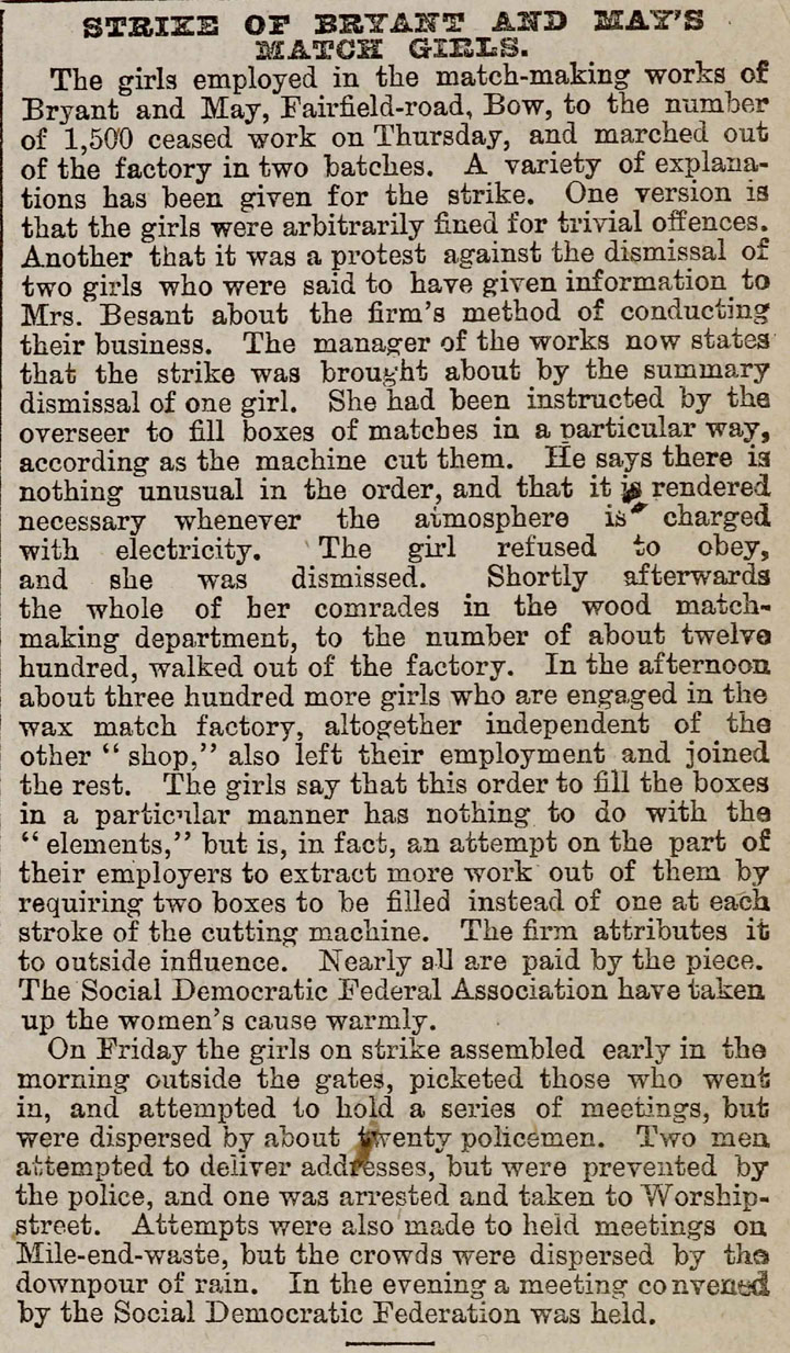Newspaper Article: Match Girls Strike, 1888
