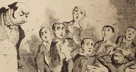 Illustration of Oliver Twist asking for 'more'