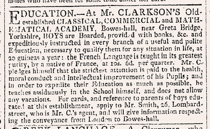 Advert for Bowes Academy, 1817