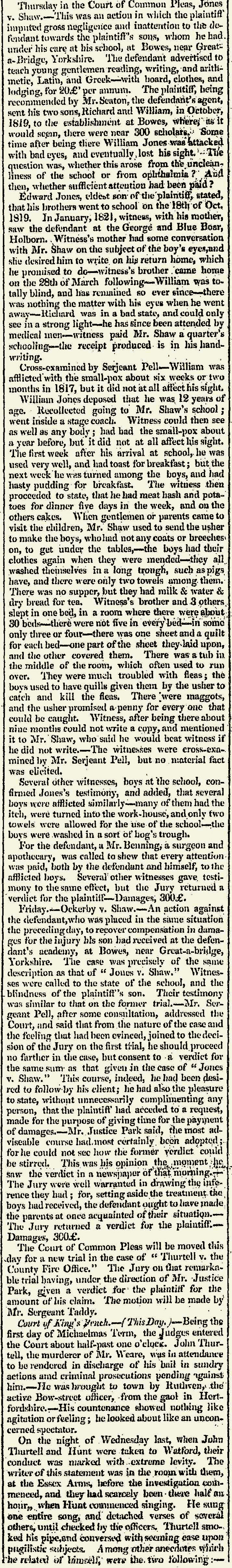 Newspaper Article: Trial of William Shaw, 1823