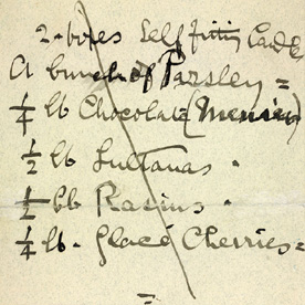 Detail of Bernard Shaw's shopping list
