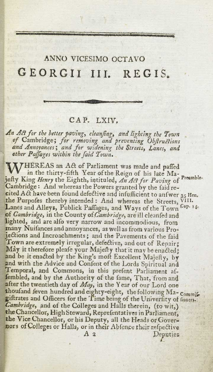 An Act for the Better Paving, Cleansing and Lighting the town of Cambridge, 1794