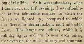 German traveller's diary description of the wonders of London's street lights, 1795