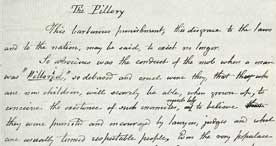 Description of the pillory, from the diary of social reformer Francis Place, 1829