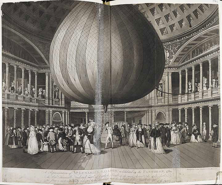 England's first hot air balloon on display, 1784
