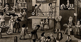 Entertainments on offer at Bartholomew Fair, 1721, Wellcome Collection