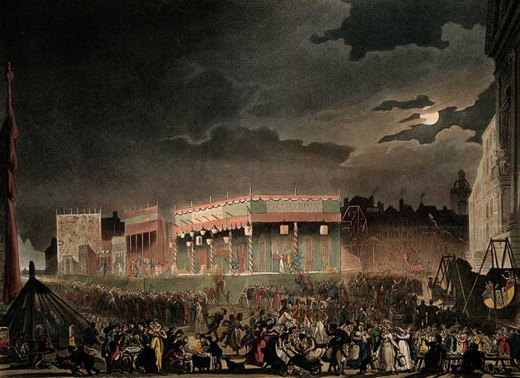 Night-time revelry at Bartholomew fair, 1808