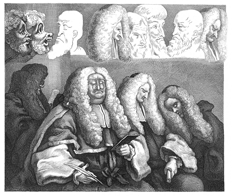 Hogarth's satirical portrayal of judges in court, 1758