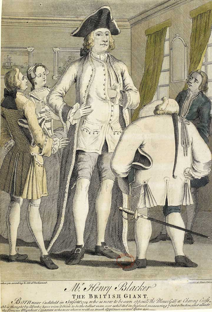 Poster advertising Henry Blacker, the British giant, 1750