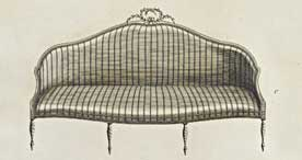 Seating design, shown in the furniture catalogue, The Cabinet Maker's Guide, 1787