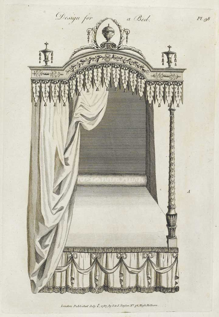Design for a bed, The Cabinet Maker's Guide, 1787