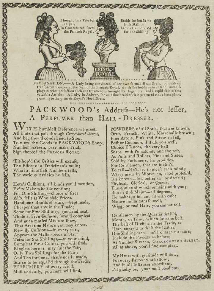 Advertisment for Packwood's, 'Perfumer and Hair-Dresser', 1788