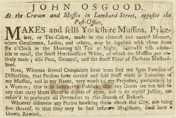 Advertisement for John Osgood's Muffins and Tea-Cakes, 1743