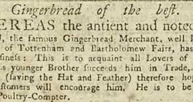Advertisement for TiddyDoll the famous 'Gingerbread Merchant', 1750