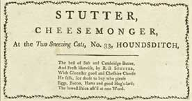 Advertisement for Stutter the cheesemonger, 1789