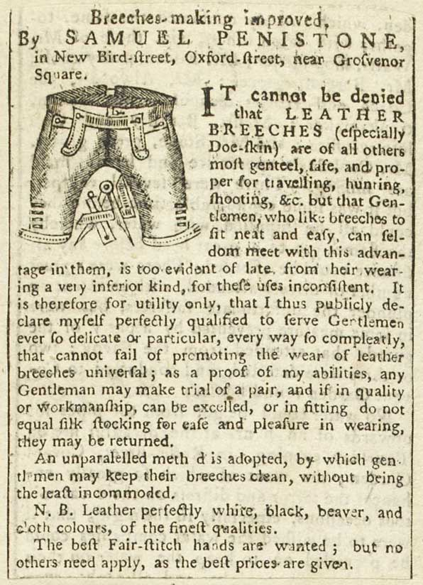 Advertisement for Samuel Penistone's leather breeches, 1775