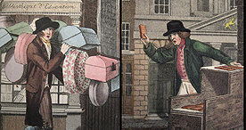 City street sellers, offering boxes, gingerbread and apples, 1804