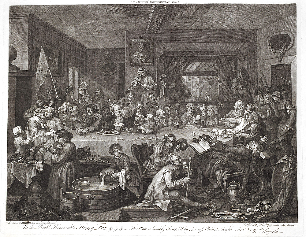 Bribery and debauchery at a Whig electioneering banquet, 1755