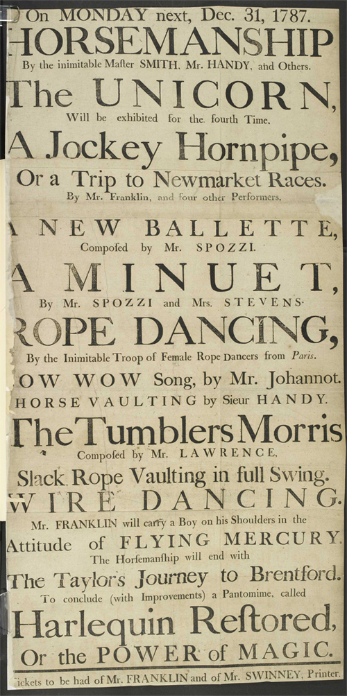 Poster advertising the diverse entertainments on offer to theater goers, 1787