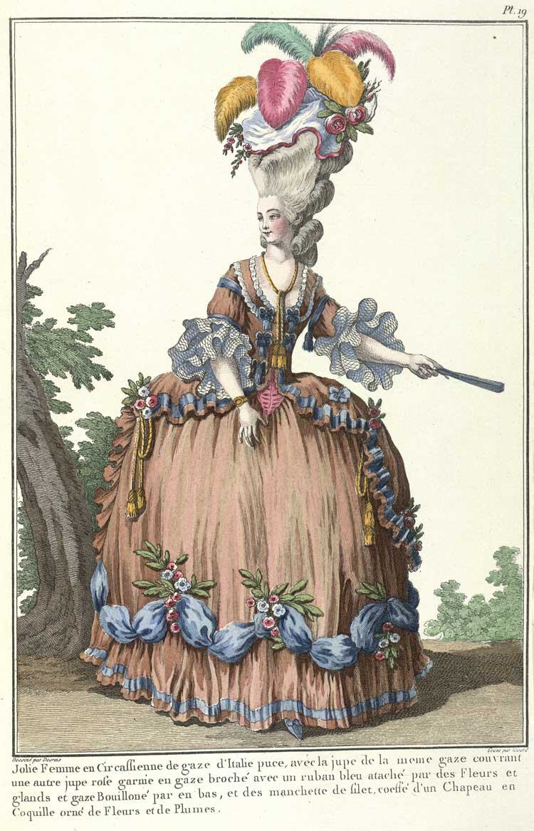 A Circassian dress of puce Italian gauze