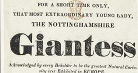 Poster advertising a 'giantess', the celebrated Mrs Bark, 1820