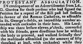 Newspaper article reporting the actions of the mob in the Gordon riots, 1780