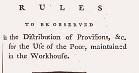 Food provided to workhouse inmates in Holborn, London, 1791