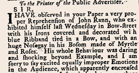 Letter to a newspaper describing the notorious highwayman John Rann, 1774
